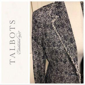 TALBOTS NAVY WHITE TWEED STYLE RAW HEM BLAZER